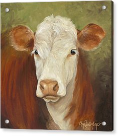 Ms Sophie - Cow Painting Acrylic Print by Cheri Wollenberg
