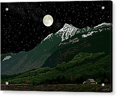 Mt Cheam In Moonlight Acrylic Print by Artellus Artworks