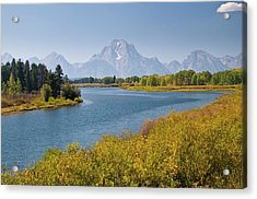 Mt Moran And Snake River Seen From Acrylic Print by Glenn Van Der Knijff