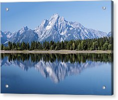 Mt. Moran At Grand Tetons With Reflection In Lake Acrylic Print