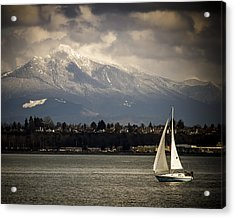 Mt Philchuck And Sailboat Acrylic Print
