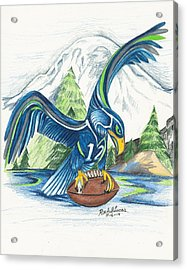 Mt Rainer And The Seahawk Acrylic Print