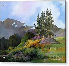 Acrylic Print featuring the painting Mt. Rainier 2 by Marta Styk