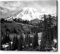 Mt. Rainier And Paradise Lodge 1950 Acrylic Print by Merle Junk