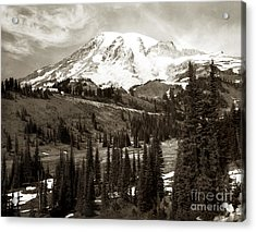 Acrylic Print featuring the photograph Mt. Rainier And Paradise Lodge In Sepia 1950 by Merle Junk