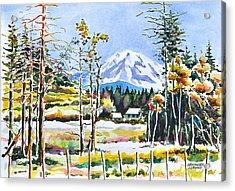 Elk Head On Mt Rainier  Acrylic Print