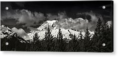 Mt Rainier Panorama B W Acrylic Print by Steve Gadomski