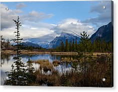 Mt Rundel Over The Lake Acrylic Print