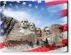 Mt Rushmore Flag Frame Acrylic Print by David Lawson