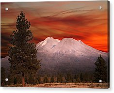 Mt Shasta Fire In The Sky Acrylic Print by Randall Branham