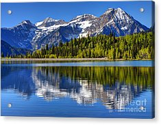 Mt. Timpanogos Reflected In Silver Flat Reservoir - Utah Acrylic Print