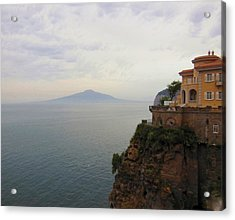 Mt Vesuvius From Sorrento At Dusk Acrylic Print by Marilyn Dunlap