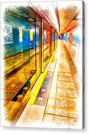 Mtr Admiralty Station In Hong Kong Acrylic Print by Yury Malkov