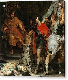 Mucius Scaevola Before Lars Porsena Acrylic Print by Rubens