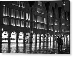 Cobblestone Night Walk In The Town Acrylic Print by Miguel Winterpacht