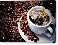 Mug On Plate Filled With Coffee Surrounded By Coffee Beans  Acrylic Print by GeorgHanf