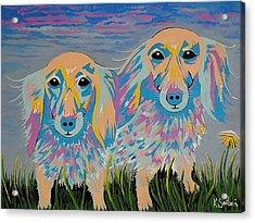 Acrylic Print featuring the painting Mugi And Tatami by Kathleen Sartoris