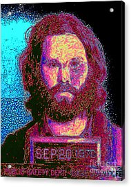 Mugshot Jim Morrison 20130329 Acrylic Print by Wingsdomain Art and Photography