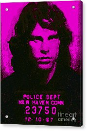 Mugshot Jim Morrison M88 Acrylic Print by Wingsdomain Art and Photography