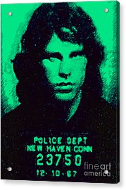 Mugshot Jim Morrison P128 Acrylic Print by Wingsdomain Art and Photography