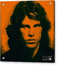 Mugshot Jim Morrison Square Acrylic Print by Wingsdomain Art and Photography