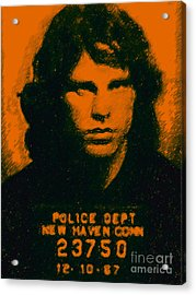 Mugshot Jim Morrison Acrylic Print by Wingsdomain Art and Photography