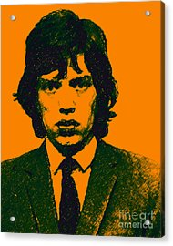 Mugshot Mick Jagger P0 Acrylic Print by Wingsdomain Art and Photography