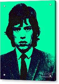 Mugshot Mick Jagger P128 Acrylic Print by Wingsdomain Art and Photography