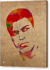 Muhammad Ali Watercolor Portrait On Worn Distressed Canvas Acrylic Print by Design Turnpike