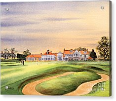 Muirfield Golf Course 18th Green Acrylic Print by Bill Holkham