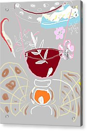 Acrylic Print featuring the painting Muji With Wine Glass by Anita Dale Livaditis