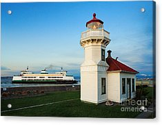 Mukilteo Ferry And Lighthouse Acrylic Print by Inge Johnsson