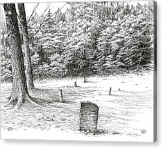 Acrylic Print featuring the drawing Mullin's Cemetery by Bob  George