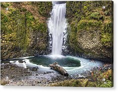 Multhomah Falls In Winter Acrylic Print by David Gn