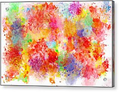 Multi Colored Ditgital Abstract 4 Acrylic Print by Debbie Portwood
