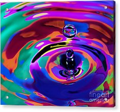 Multicolor Water Droplets 1 Acrylic Print by Imani  Morales