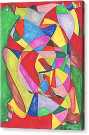 Multicolored Maze Acrylic Print by Ellen Howell