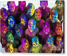 Multicoloured Happy Faces Acrylic Print by Tim Gainey