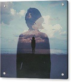 Multiple Exposure Of Woman On Beach Acrylic Print by Chen Liu / Eyeem