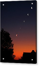 Multiple Exposures Of A Total Lunar Acrylic Print
