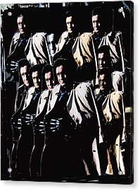 Acrylic Print featuring the photograph Multiple Johnny Cash In Trench Coat 1 by David Lee Guss