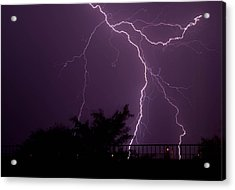 Multiple Lightning Strikes In Casa Grande Arizona Acrylic Print by Chris Spangler