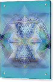 Multivortex 3d Chalice With Horizontal Vortexes Over The Earth Acrylic Print by Christopher Pringer
