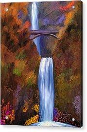 Multnomah Falls In Autumn Acrylic Print by Angela A Stanton