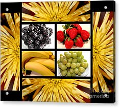 Mums Fruit Collage Acrylic Print by Barbara Griffin