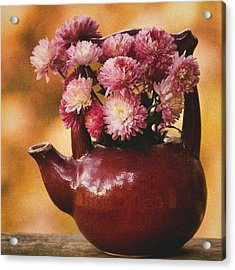 Acrylic Print featuring the photograph Mums In A Teapot Still Life by Peggy Collins