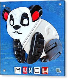 Munch The Panda License Plate Art Acrylic Print by Design Turnpike