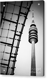 Munich - Olympiaturm And The Roof - Bw Acrylic Print by Hannes Cmarits
