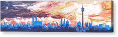 Munich Skyline At Dusk With Alps Acrylic Print by M Bleichner