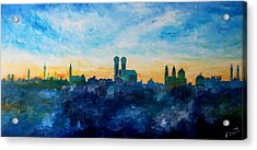 Munich Skyline With Church Of Our Lady Acrylic Print by M Bleichner